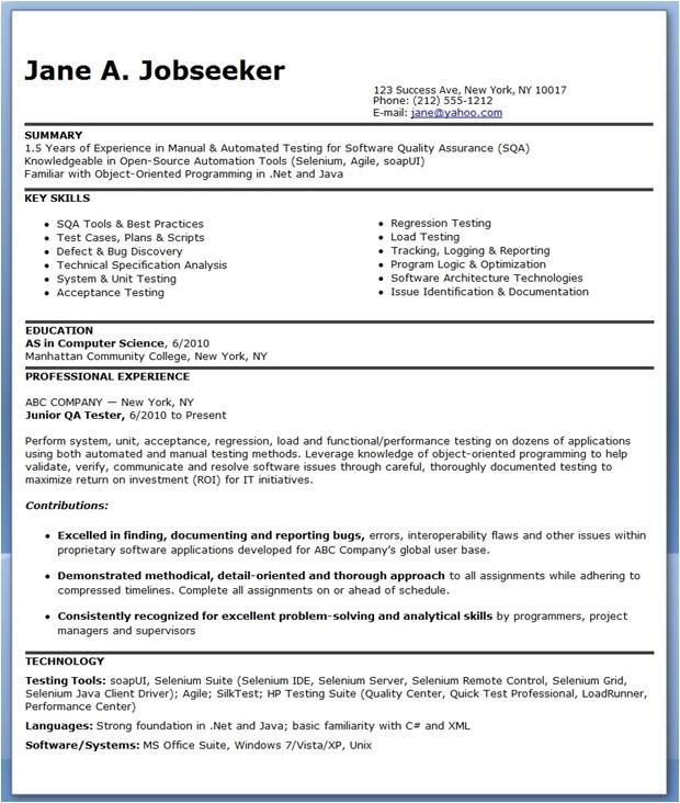 qa software tester resume sample entry level