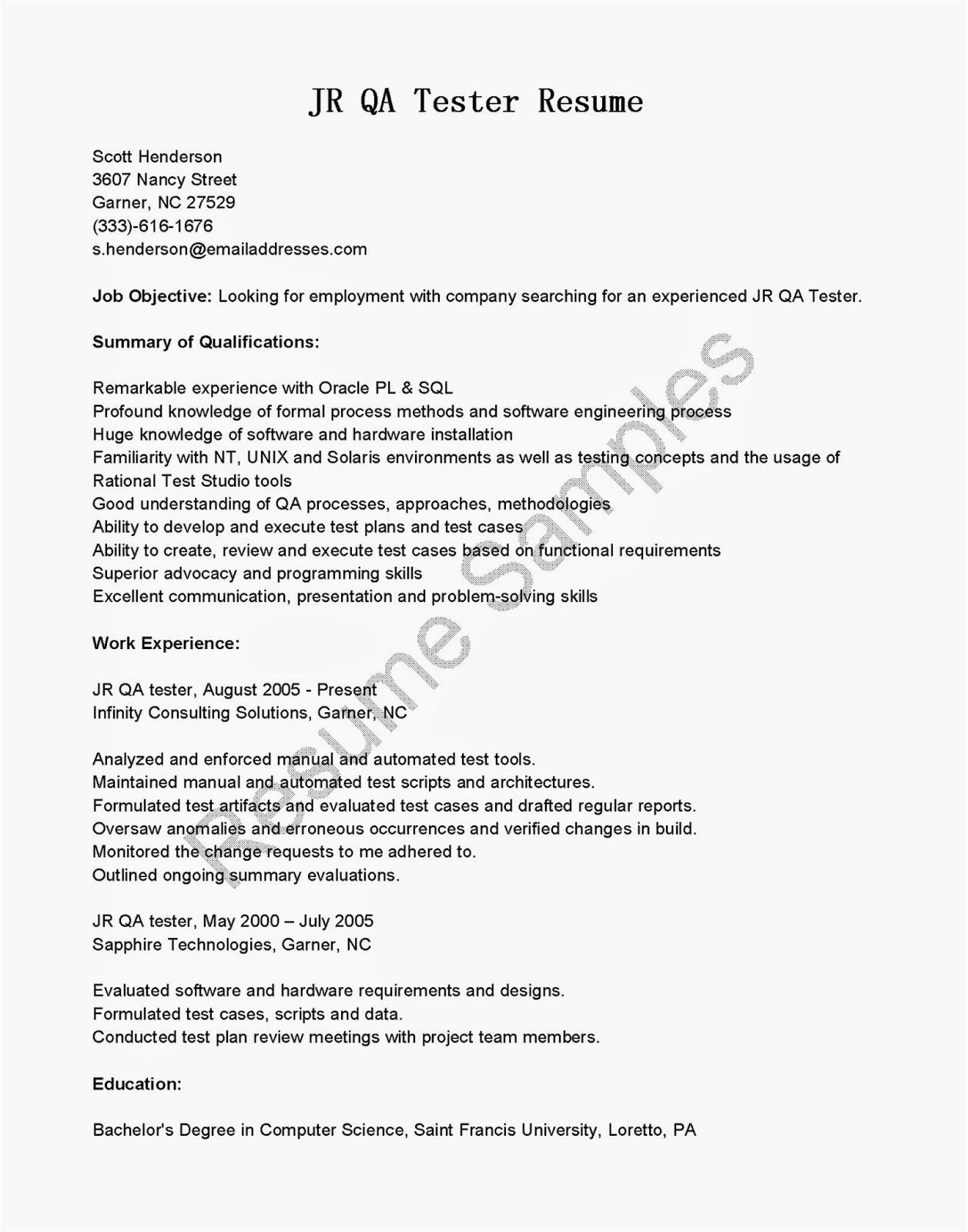 jr qa tester resume sample