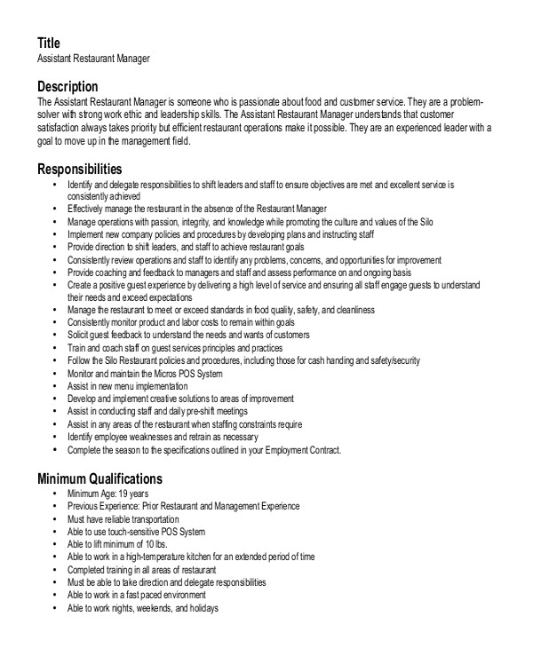 Resume Templates for Restaurant Managers Restaurant Manager Resume Template 6 Free Word Pdf