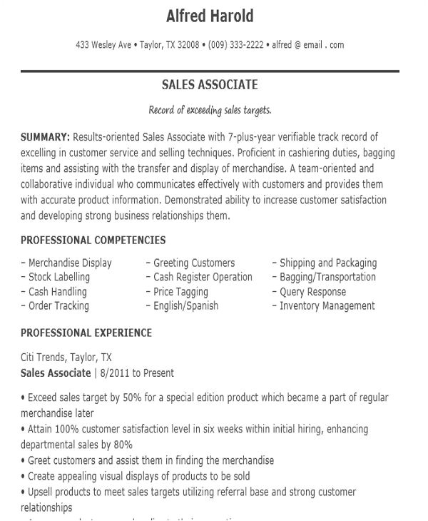 sample sales job resume