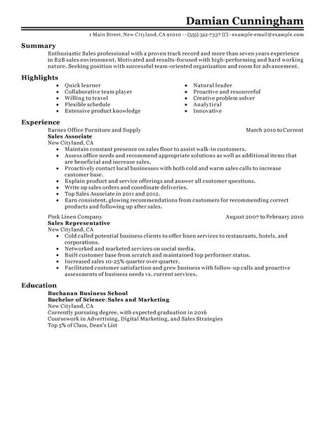 Resume Templates for Sales Positions Sales Resume Examples Sales Sample Resumes Livecareer