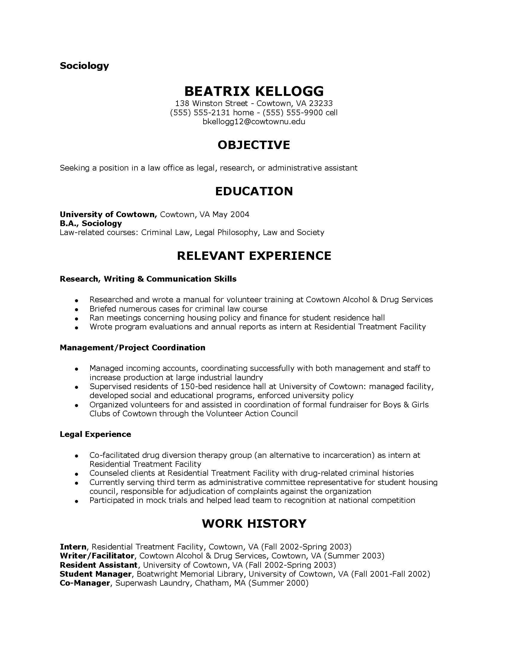 Resume Templates for sociology Majors sociology Resume Examples Examples Of Resumes