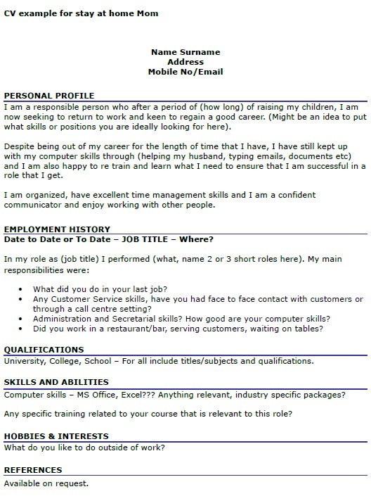 Resume Templates for Stay at Home Moms Cv Example for Stay at Home Mom Icover org Uk