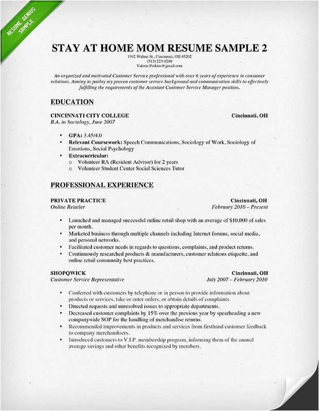 stay at home mom resume example