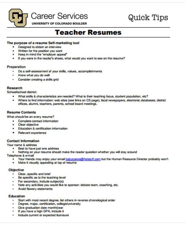 Resume Templates for Teaching Jobs 20 Simple Teacher Resume Templates Pdf Doc Free