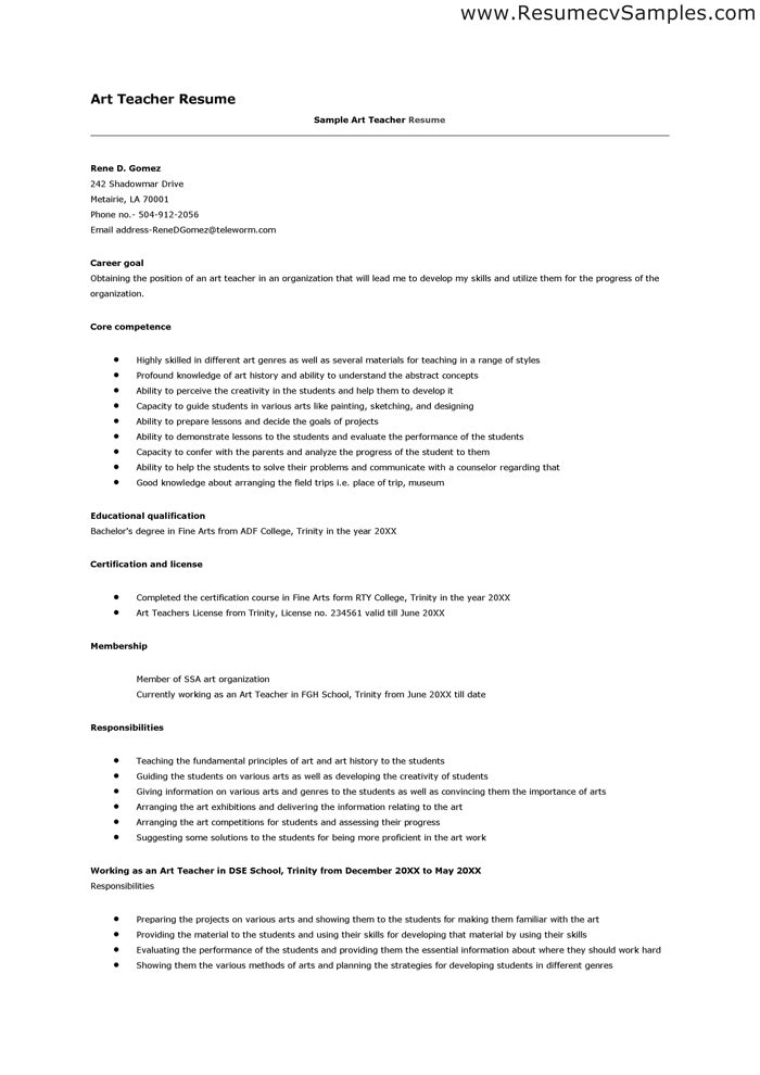 resume for teaching jobs