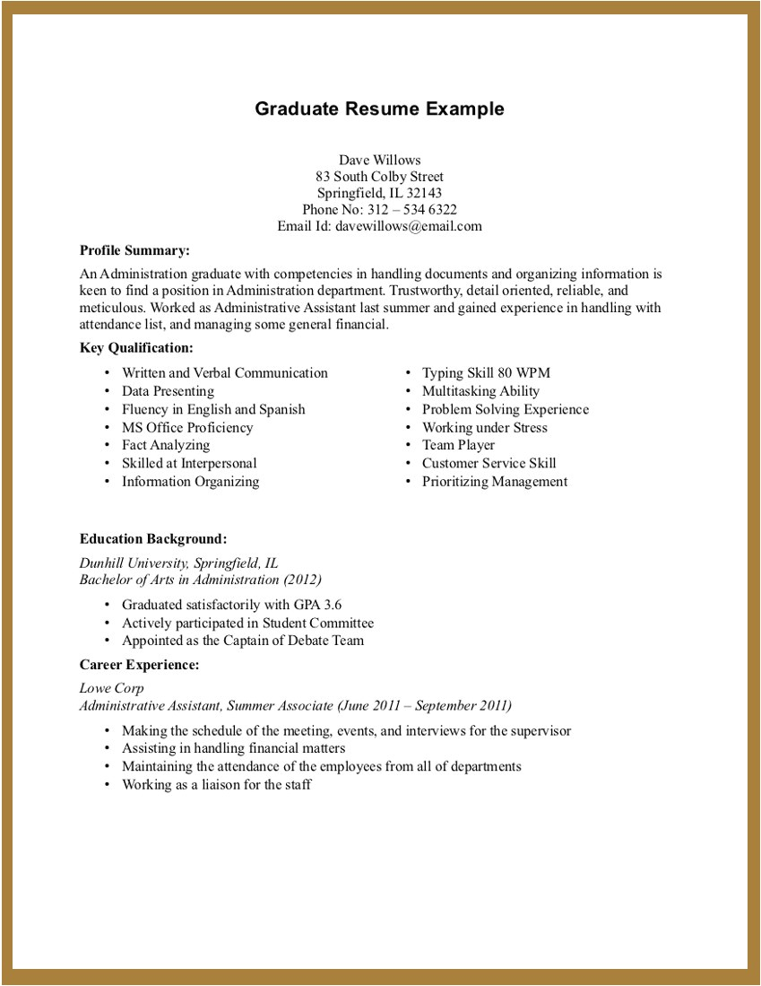 experience resume template