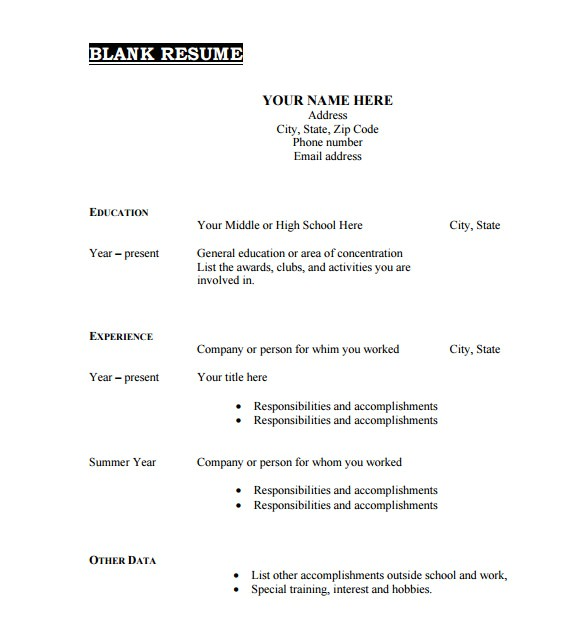 Resume Templates Pdf Free 46 Blank Resume Templates Doc Pdf Free Premium