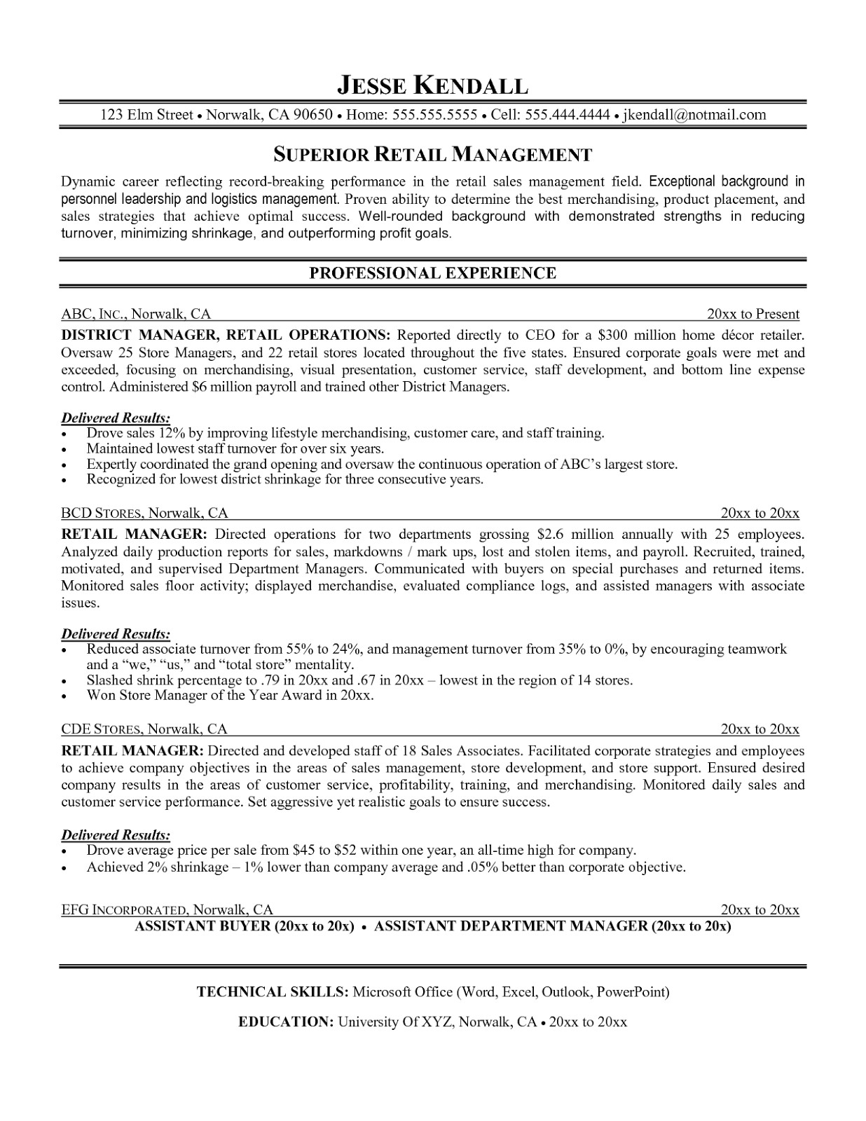 retail management resume template