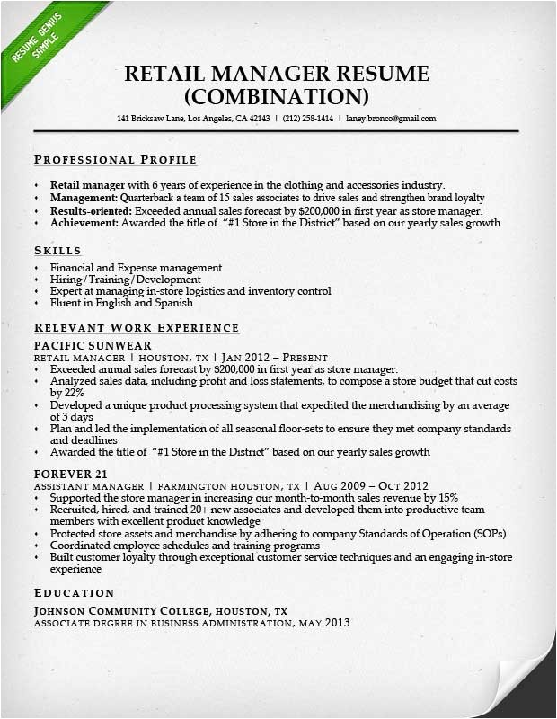 Retail Manager Resume Template Retail Sales associate Resume Sample Writing Guide Rg