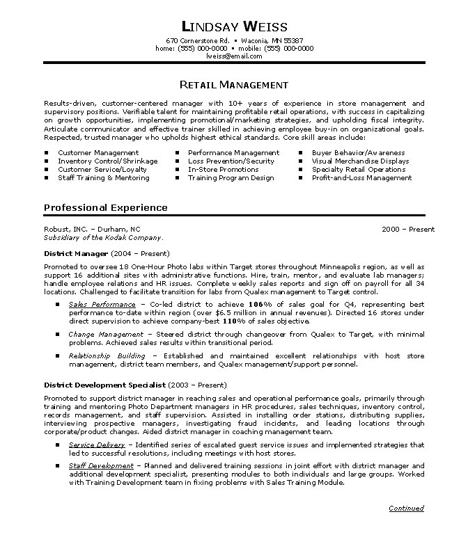 Retail Manager Resume Template Retail Sales Manager Resume Examples Full Page Sample