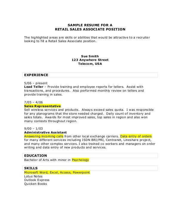 Retail Sales associate Resume Sample 7 Sales associate Resume Samples Sample Templates