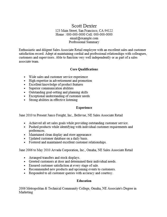 Retail Sales associate Resume Sample Retail Sales associate Resume Ingyenoltoztetosjatekok Com