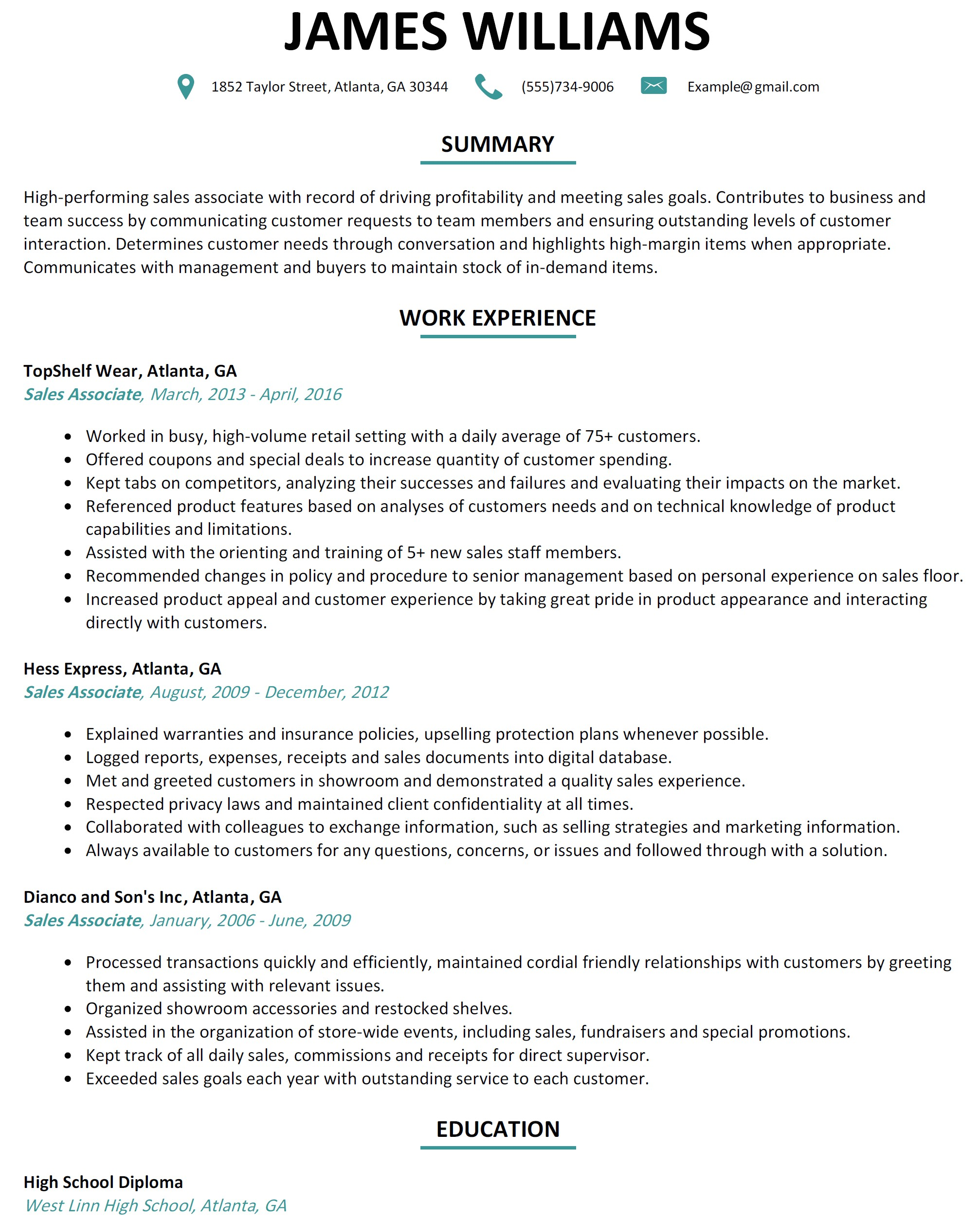 Retail Sales associate Resume Sample Salesperson Resume Sales Representative Resume Template