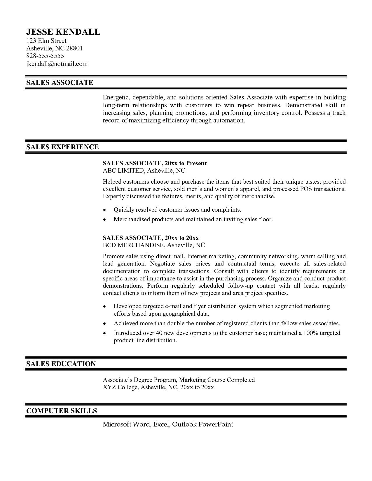best store associate resume sample