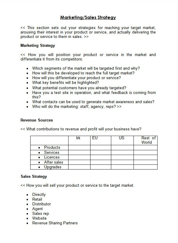 Sales Business Plan Template Free 24 Sales Plan Templates Pdf Rtf Ppt Word Excel