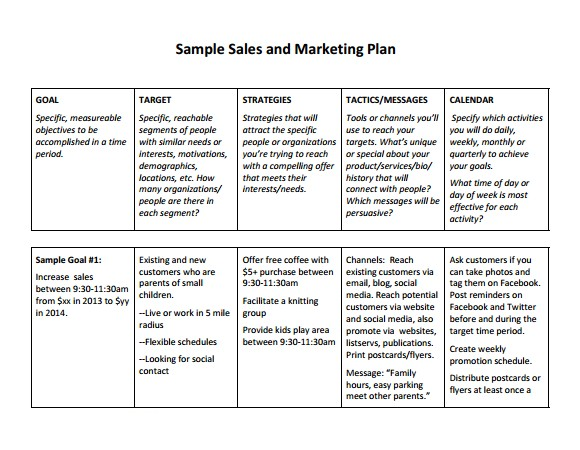 Sales Business Plan Template Free Free Sales Plan Templates Free Printables Word Excel