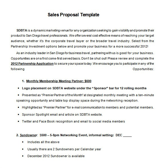 Sales Proposals Templates Proposal Templates 140 Free Word Pdf format Download