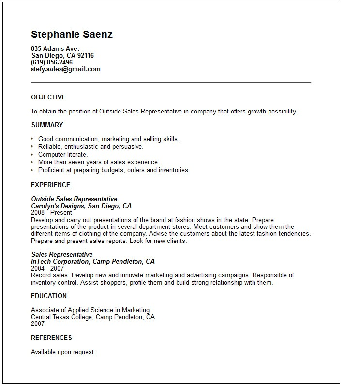 Sales Resume Templates Free Outside Sales Resume Template Resume Builder