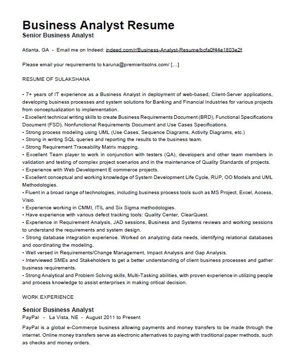 crm business analyst resume