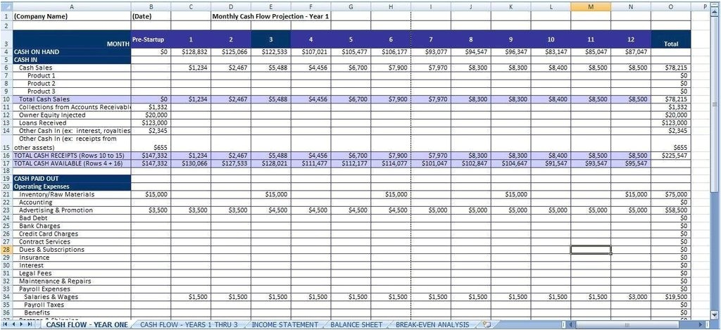 business plan excel spreadsheet