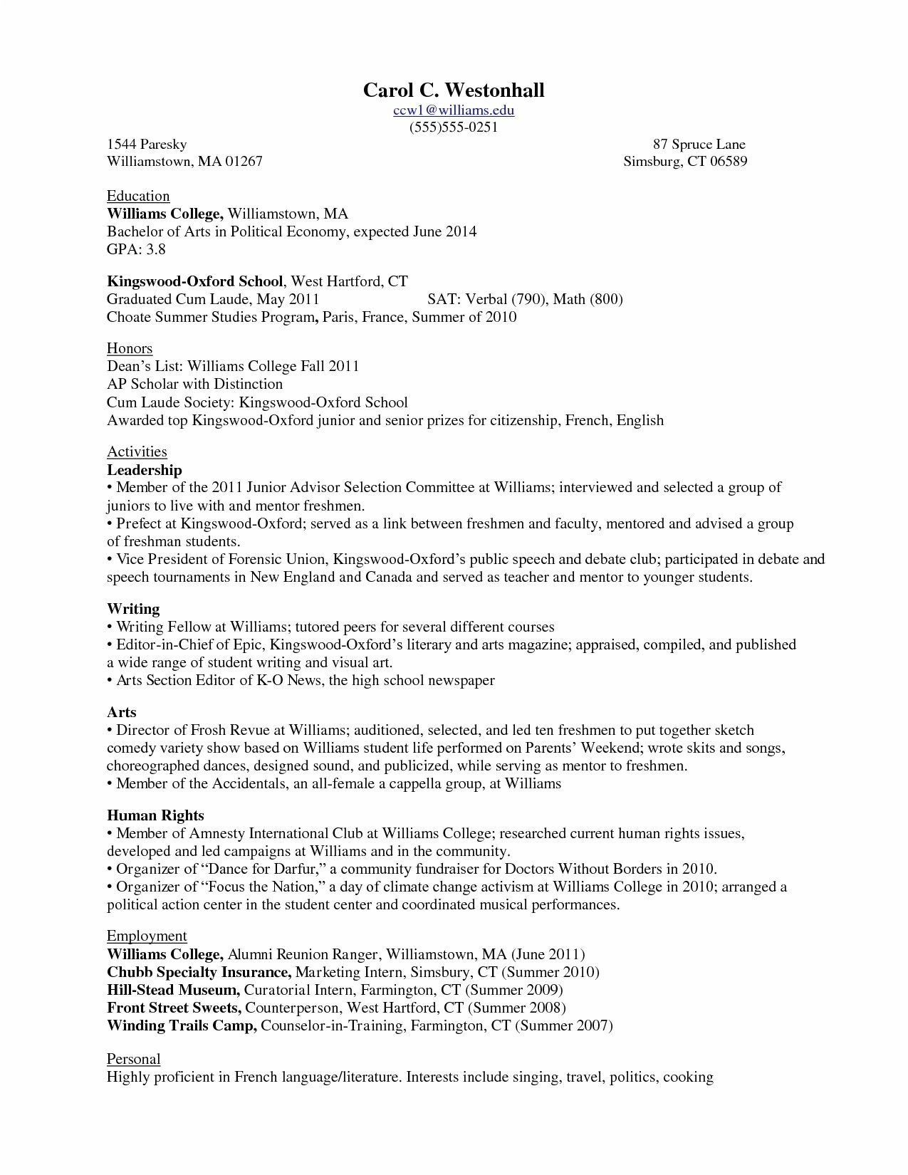 Sample College Application Resume Ivy League 22 Regular Sample College Application Resume Ivy League