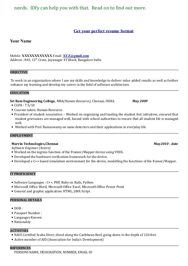 example of a resume format