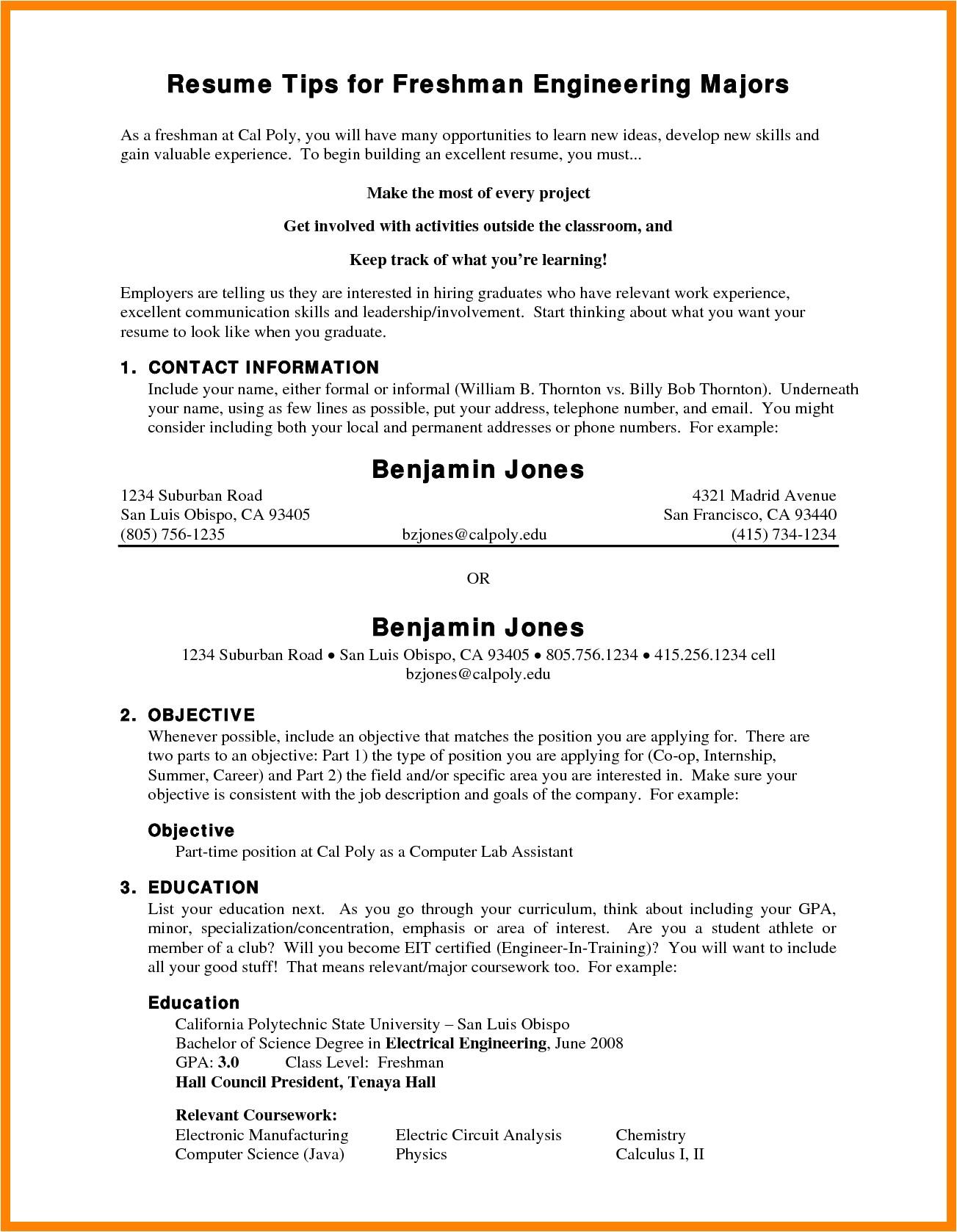 7 freshman college student resume