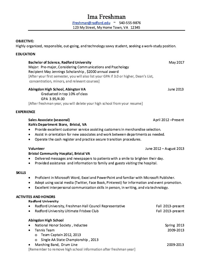 Sample College Freshman Resume College Freshman Resume Best Resume Collection