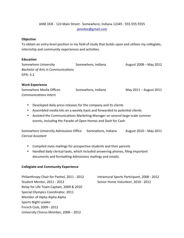 freshman college student resume