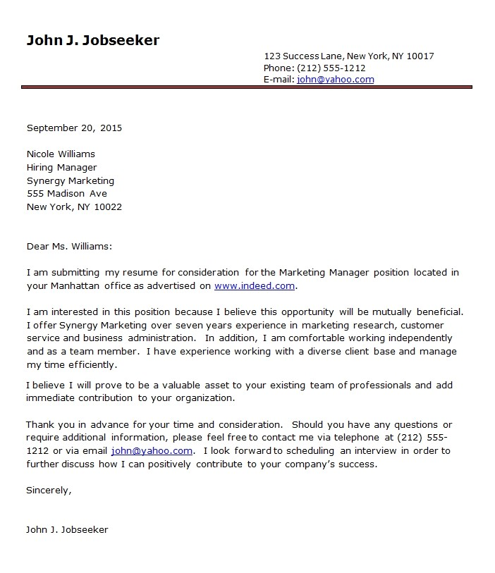 Sample Cover Letter for Resume In Word format Cover Letter format Examples Template