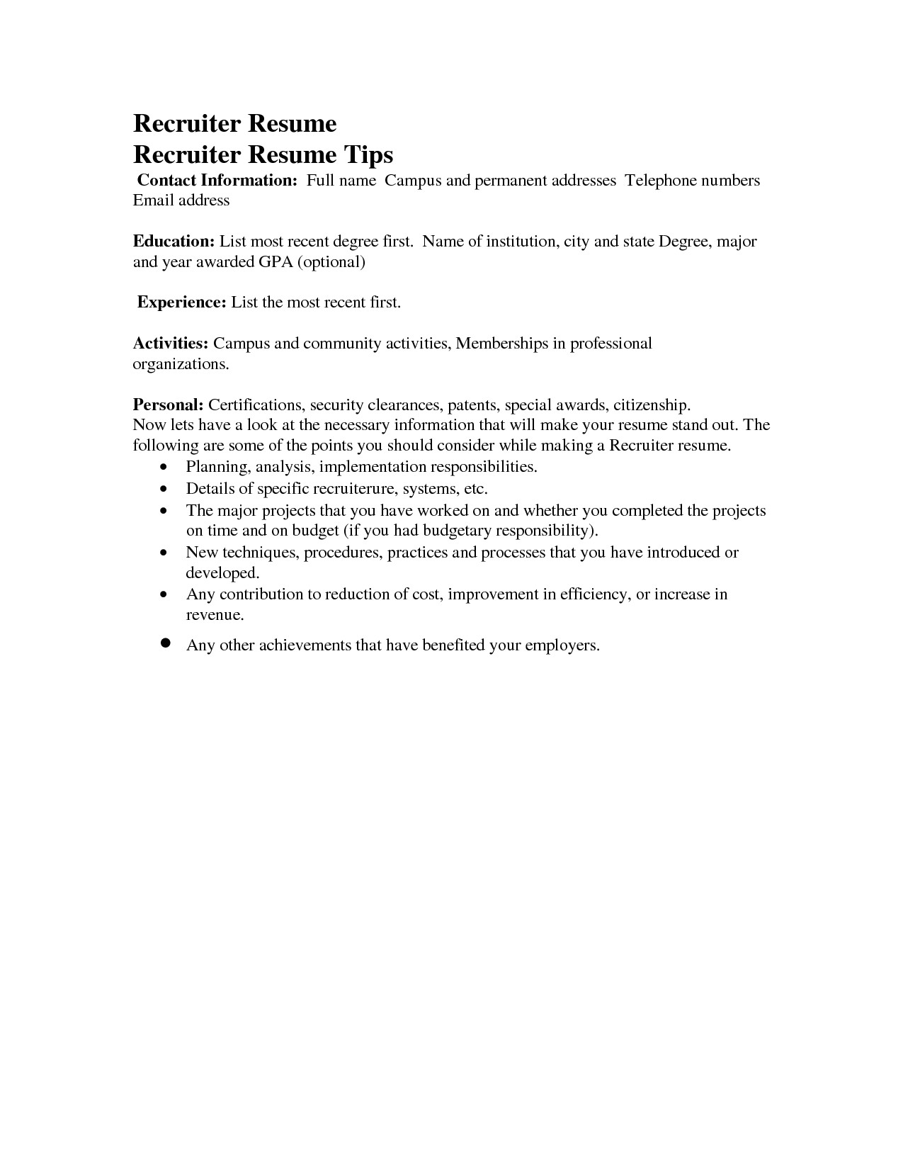 Sample Email to Send Resume to Recruiter Sample Email to Send Resume to Recruiter Cover Letter