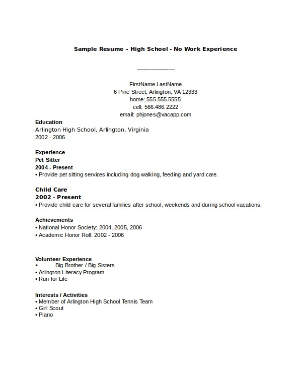 impressive high school resumes