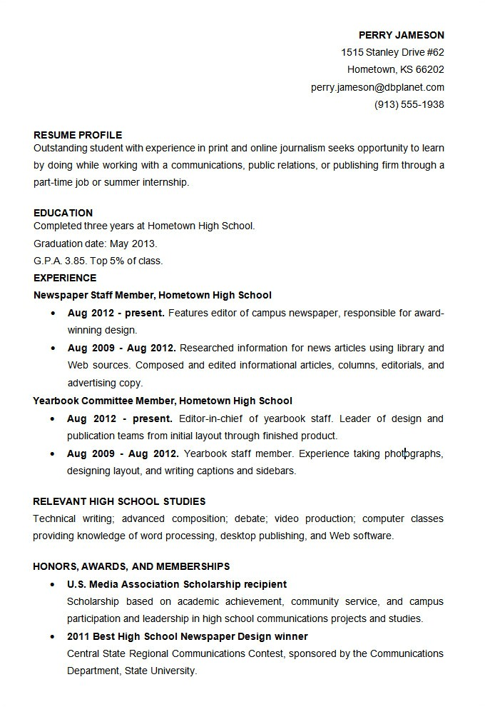 Sample High School Student Resume Microsoft Word Resume Template 49 Free Samples