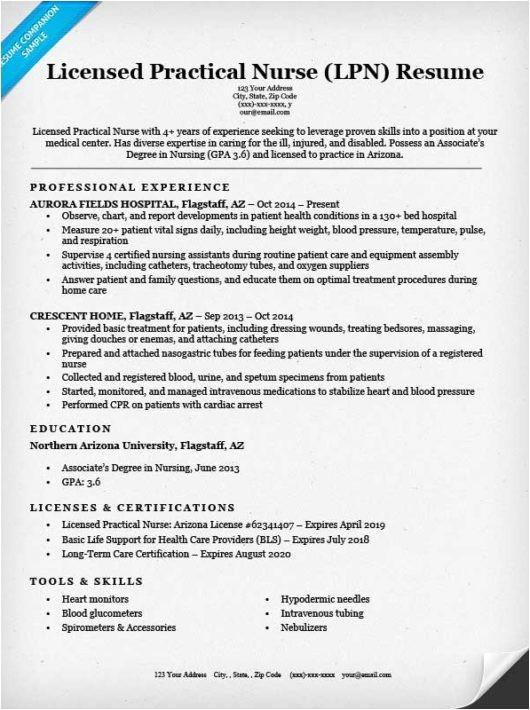 Sample Lpn Resume Objective Licensed Practical Nurse Lpn Resume Sample Tips