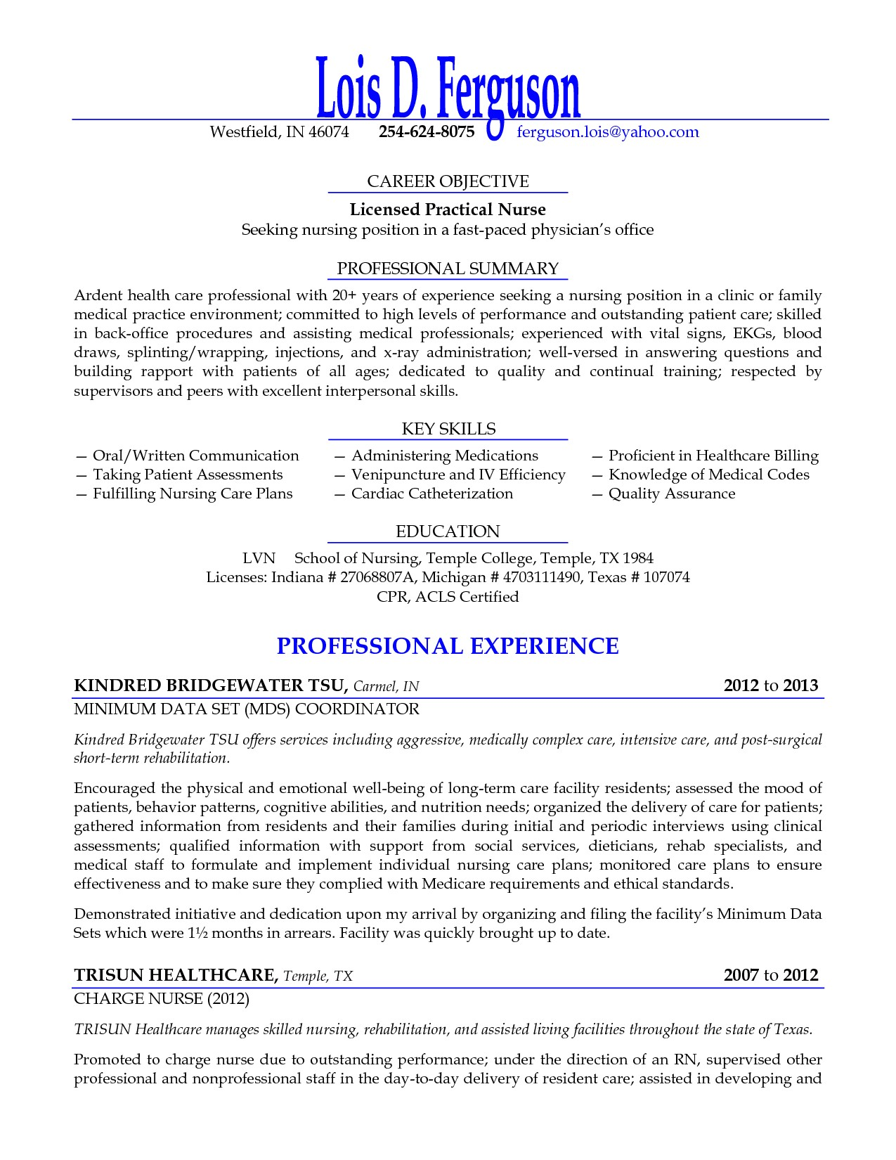 licensed practical nurse seeking nursing position resume objective sample