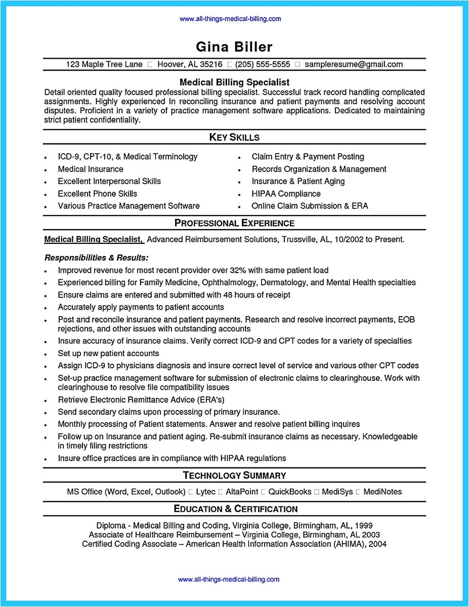 Sample Medical Billing Resume Templates Exciting Billing Specialist Resume that Brings the Job to You