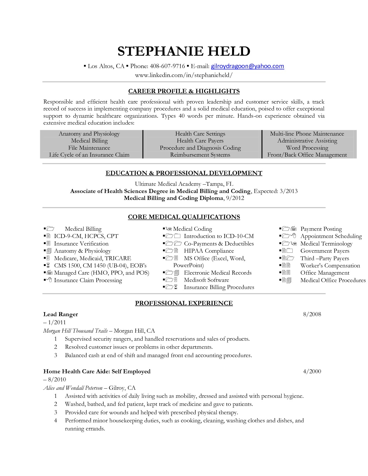 medical billing coding resume example