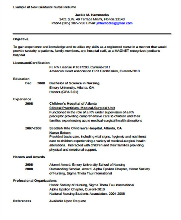 Sample New Grad Nursing Resume 4 Sample Graduate Nurse Resumes Sample Templates