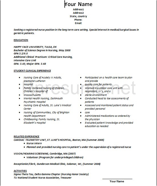 Sample New Grad Nursing Resume Rn Resume Bag the Web
