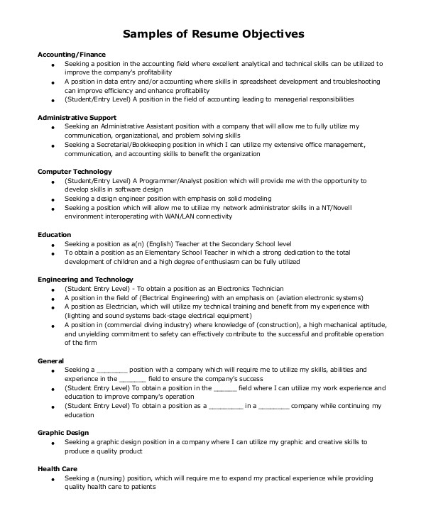 Sample Objectives for Resumes 7 Sample Resume Objective Examples Sample Templates