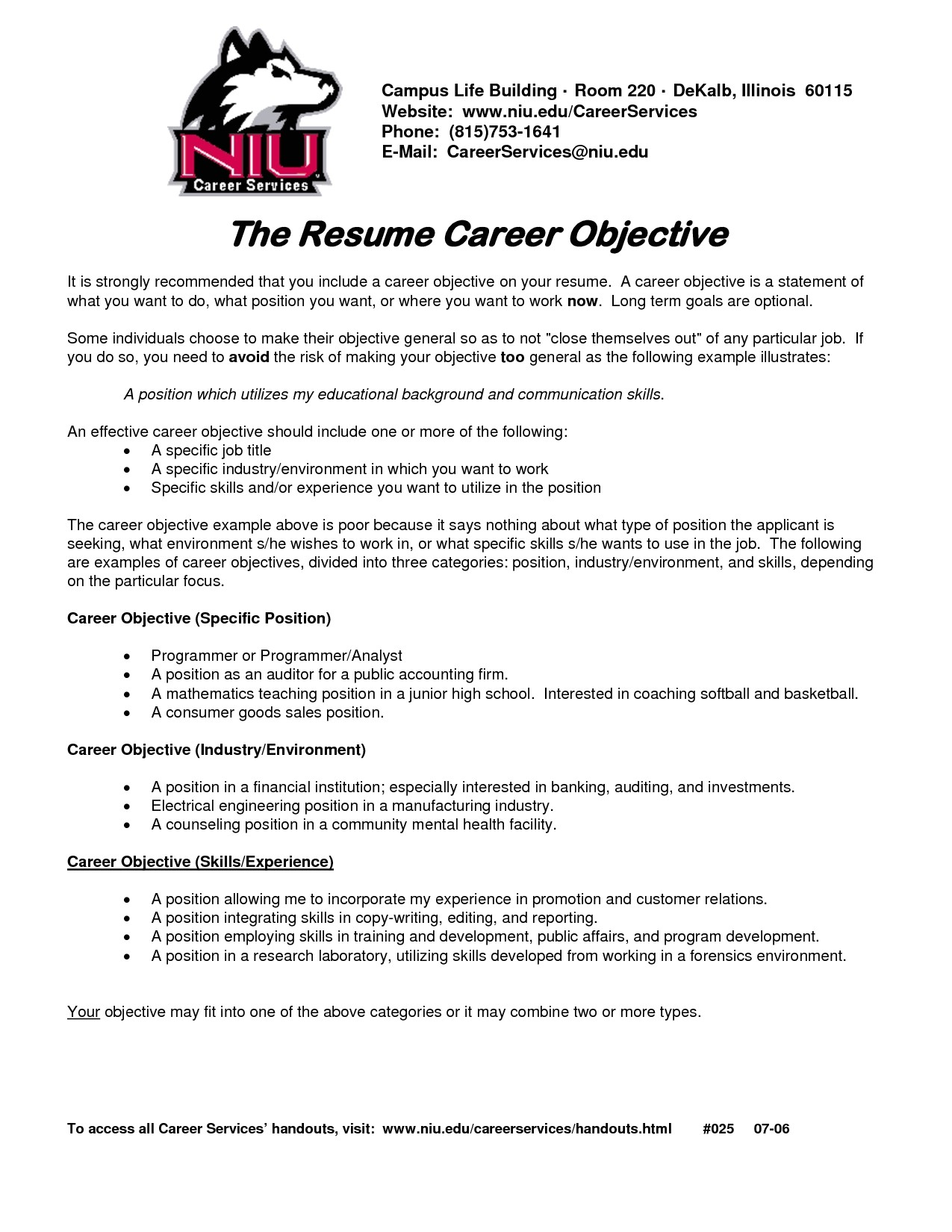 Sample Objectives for Resumes Career Objective On Resume Template Resume Builder