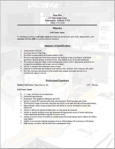 call center resume