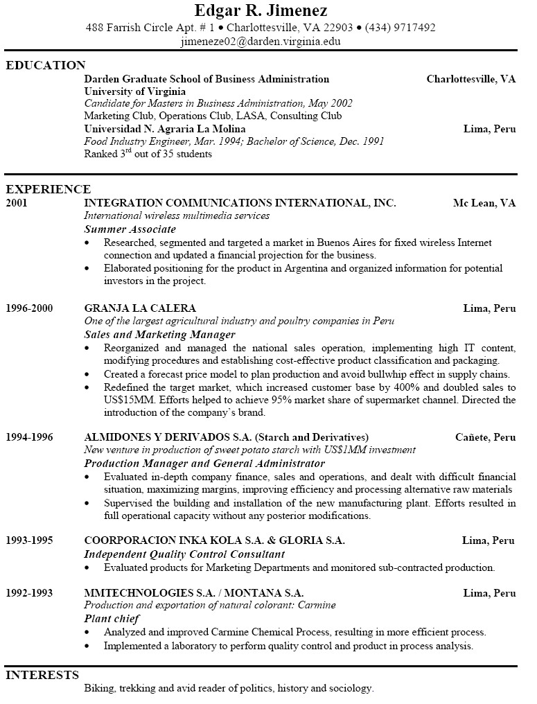 examples of good resumes
