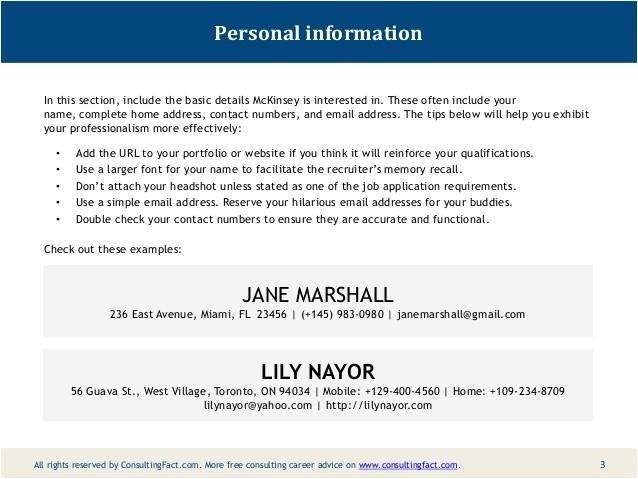 Sample Of Personal Information In Resume Mckinsey Resume Sample