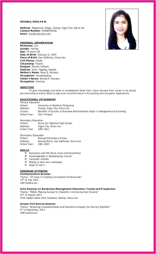 resume sample personal information