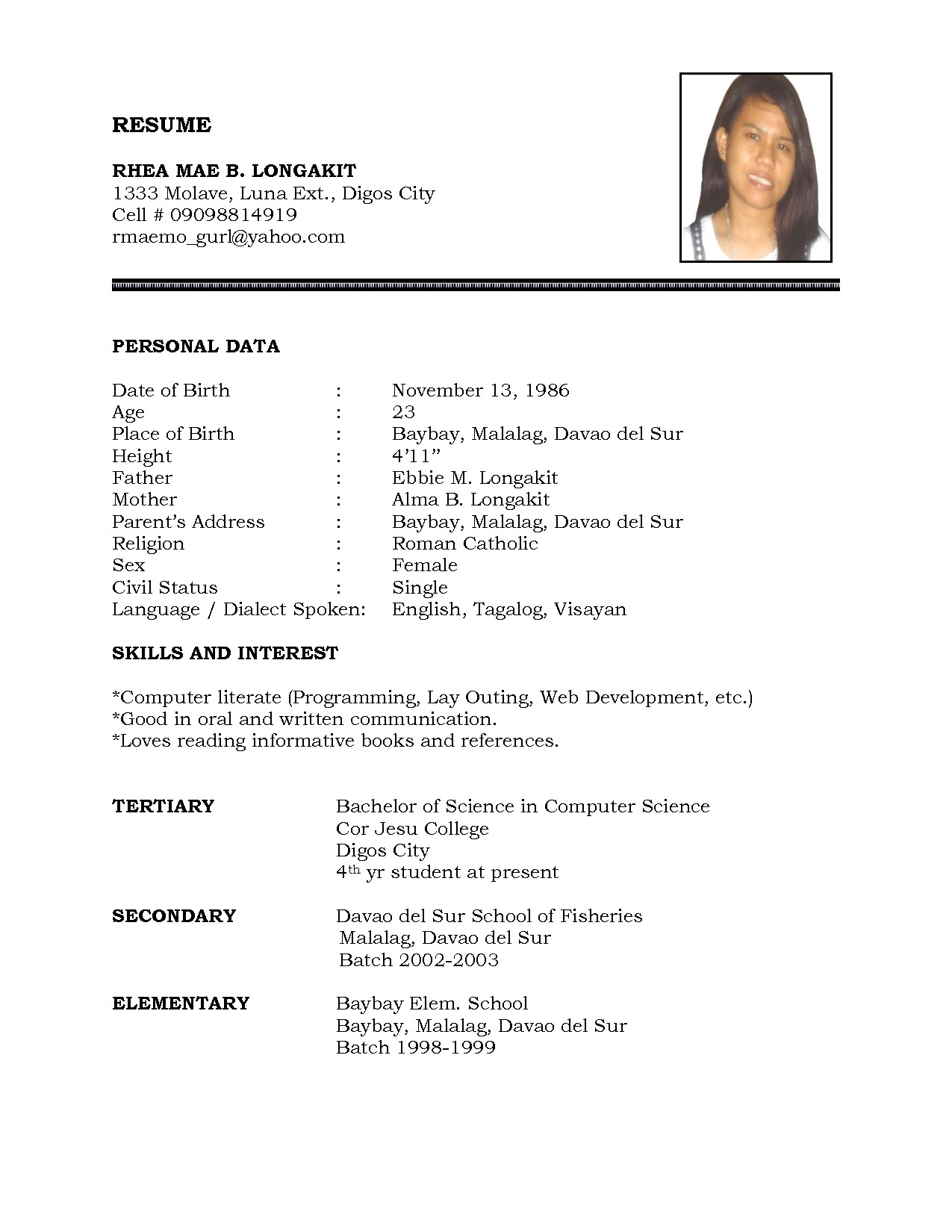 sample of personal information in resume