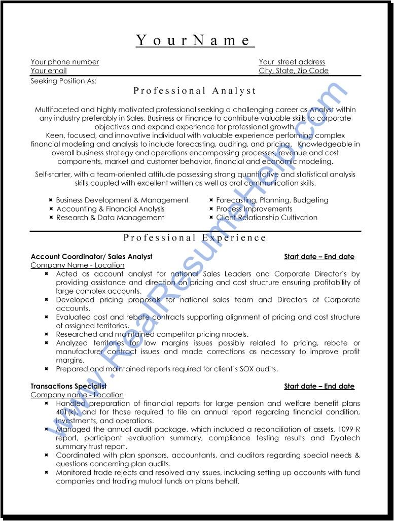 Sample Of Professional Resume Professional Analyst Resume Sample Real Resume Help