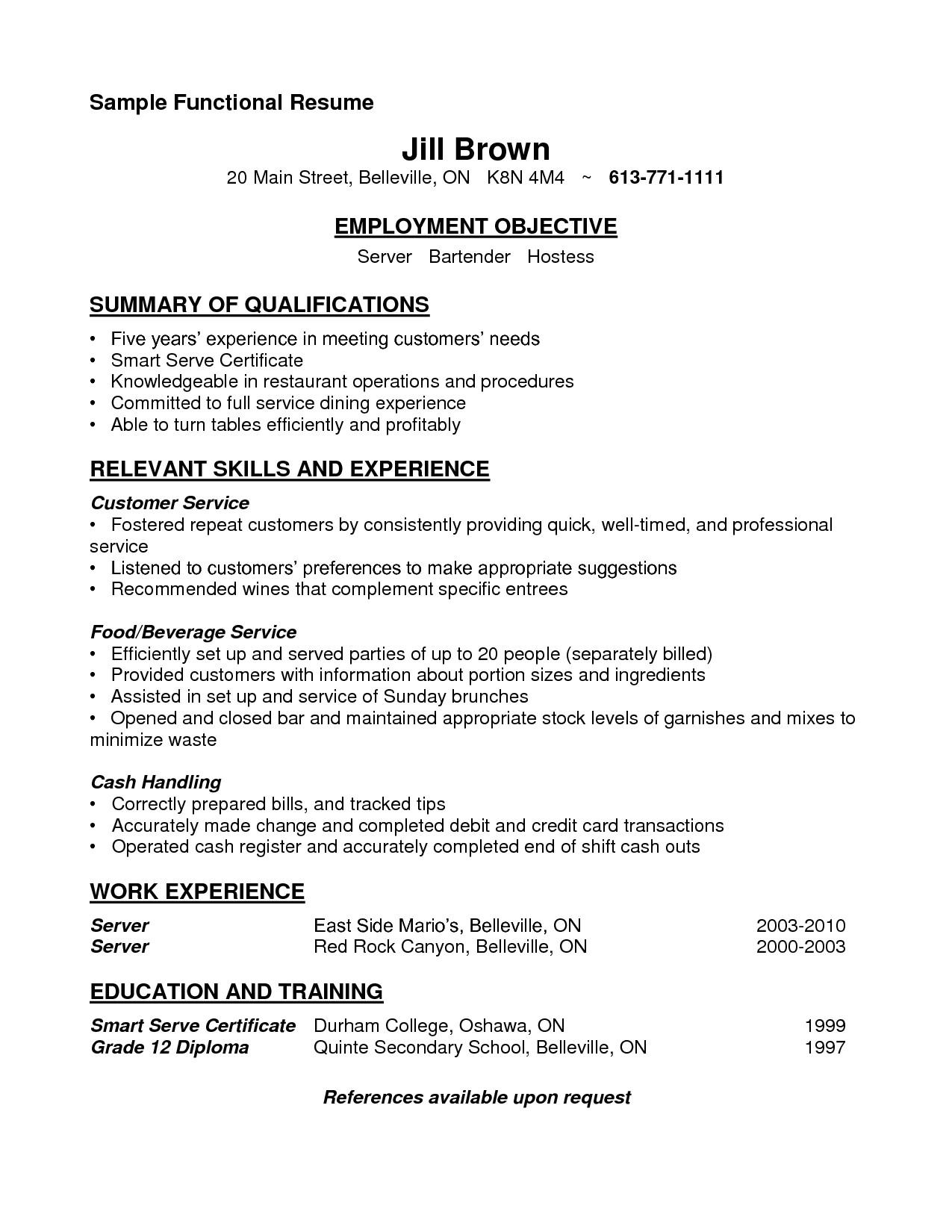 Sample Of Resume for Waitress Position Sample Resume for Cocktail Waitress Job Position