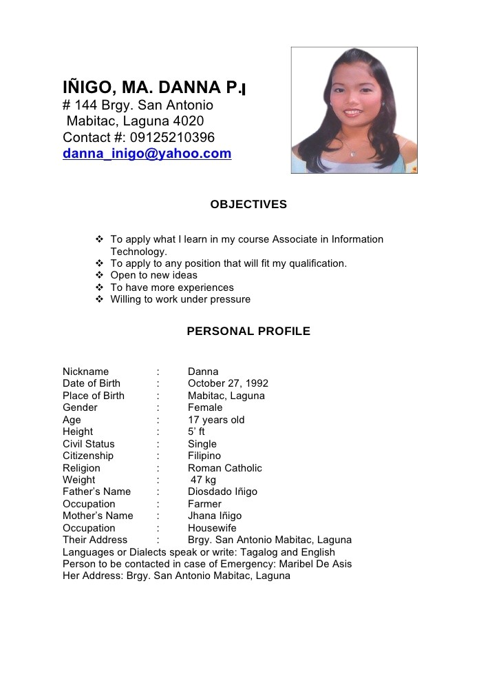 Sample Of Resume for Working Student Dana Resume1
